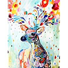 Gracefulvara 5D Colorful Deer Diamond Embroidery Painting Home Decor Cross Stitch DIY Craft