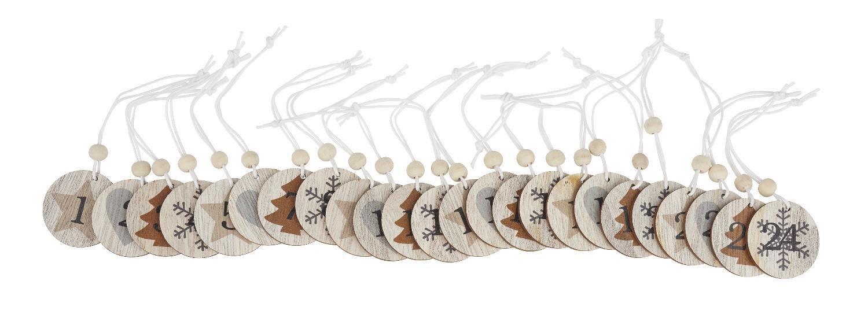 VBS Adventskalender-Zahlen Anhänger Nature Holz mit Perle Weihnachten 24 Weihnachtskalender Schnur Geschenk VBS Hobby Service