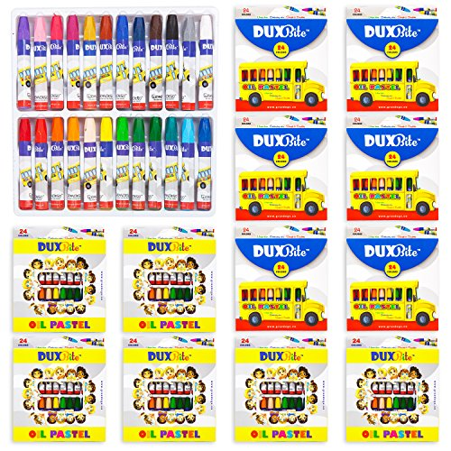 - Duxbite 24 Oil Pastel Art Set | Bulk Pack of 12 Set, Children's Coloring Supplies with Tapered Points, Hexagonal Shape and Brilliant Colors - 24 Durable Artists Pastels