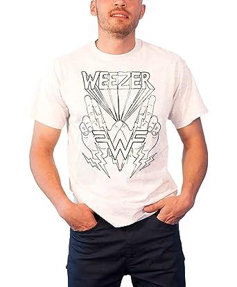 9ae8db61 Weezer T Shirt Lightning Hands band logo Official Mens White L:  Amazon.co.uk: Clothing