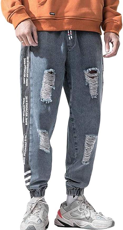 Ptorジョガーパンツ メンズ デニム ジーンズ ダメージ加工 ファッション デニムパンツ ストレッチ九分丈 ゆったり テーパードパンツ カジュアル ストリート ジーパン 大きいサイズ