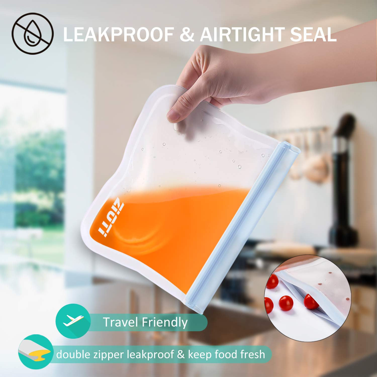 Reusable Storage Bags 10 Pack, 2 Reusable Sandwich Bags, 5 Reusable Freezer Bags and 3 Reusable Snack Bags, 2019 BPAFREEExtra Thick Leakproof Easy Seal Gallon Ziplock Lunch Bags for Home and Travel