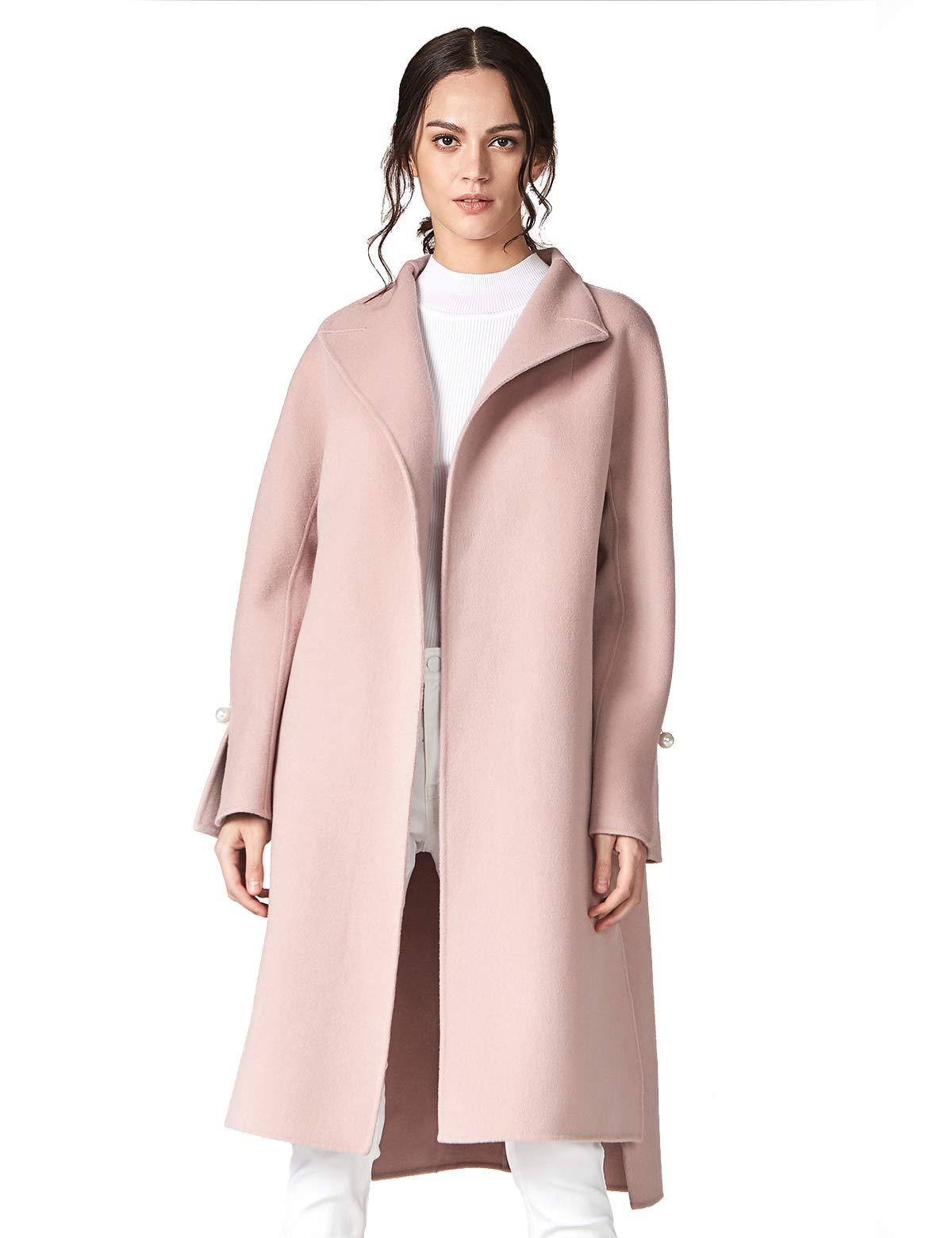 ANNA&CHRIS Women's Long Wool Trench Coat Winter Oversize Handmade Lapel Cardigan Overcoat