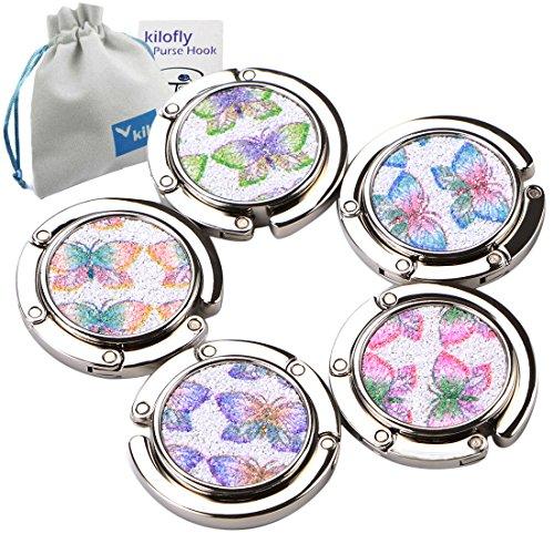 Butterfly Purse Hook (kilofly Purse Hook [Set of 5] Girls Foldable Butterfly Handbag Holder + KF Pouch)