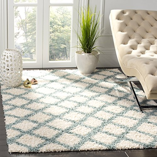 Safavieh Dallas Shag Collection SGDS258J Ivory and Seafoam Area Rug 4 x 6