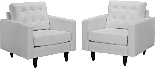 Modway Empress Mid-Century Modern Upholstered Leather Two Armchair Set White