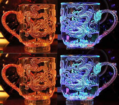 DTS-ES (Pack of 4) 285ml Eastern Dragons Mug, Liquid Induction Luminous, Multicoloured Led Iridescence, Holiday Gift, Used For Candlelight Dinner, Birthday Party, The Bar, Family Party, Bonfire Party