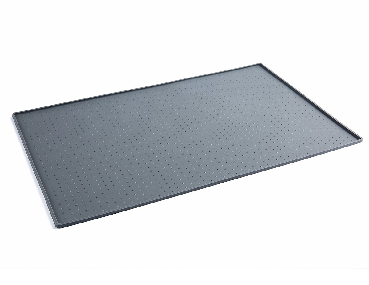 PETCEE Dog Mats for Food,FDA Grade Silicone,Large Dog Mat 15.7x23.6 Inch Pet Food Mat Dog Bowl Placemat (Grey)