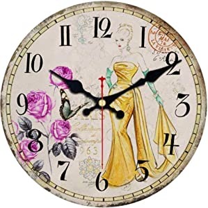 HRWDZGirls Dress Clock Silent Living Room Decoration Study Office Kitchen Wall Clocks Shabby Chic Large Wall Clock 3 Size 12 Inches (30cm)