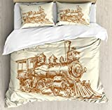 Steam Engine Duvet Cover Set King Size by Ambesonne, Old Times Train Vintage Hand Drawn Iron Industrial Era Locomotive, Decorative 3 Piece Bedding Set with 2 Pillow Shams, Ivory Pale Caramel