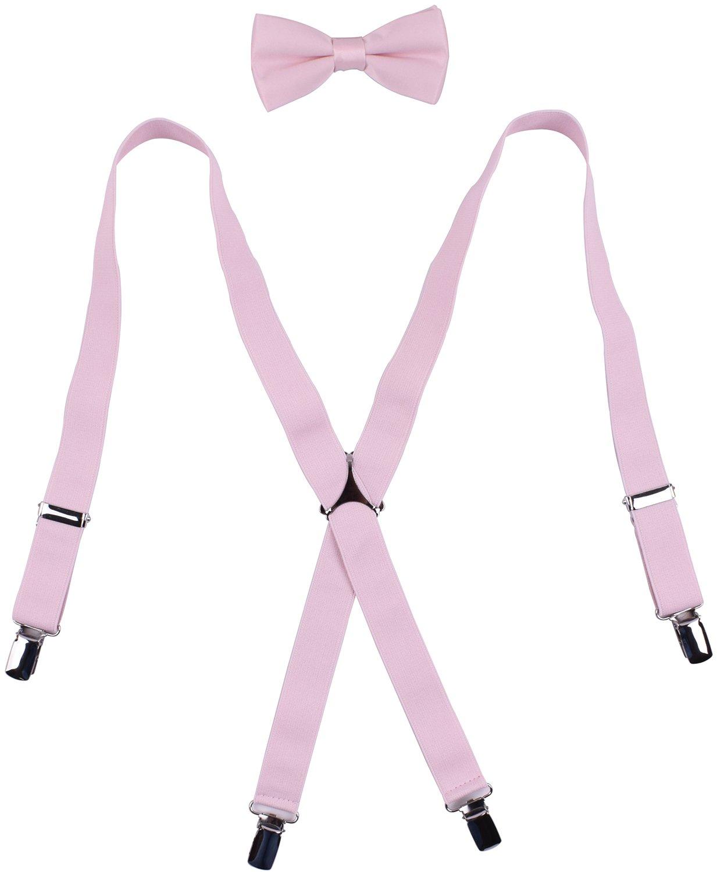 WDSKY Men's Bow Tie and Suspenders Set Adjustable X Back Light Pink