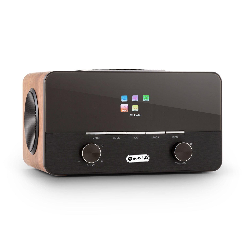 auna Connect 150 WN • 2.1 Internet Radio • WLAN Radio • Network Player • WiFi • LAN • Spotify Connect • FM w/ RDS • MP3 USB port • AUX • Remote Control • Wood • Walnut