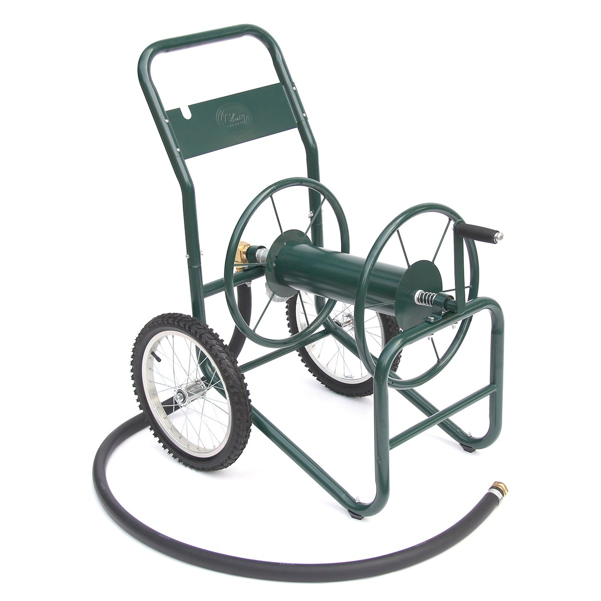Liberty Garden Products 1180-2 Industrial 2-Wheel Garden Hose Reel Cart, Holds 150-Feet of 1-Inch Hose - Green