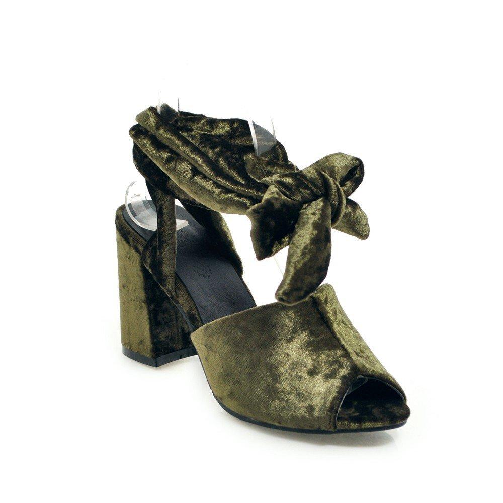 Unbekannt Sandalen Damen High Heel Heel Heel Dick mit Fisch Mund Fußschlaufen Große Römische Schuhe Grün 40 9fe71b