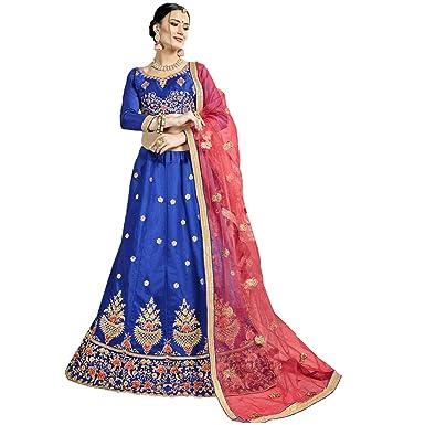 286e0578826 Manvaa Women S Bangalori Silk Embroidered Lehenga Choli In Blue Color   Amazon.in  Clothing   Accessories