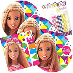 Lobyn Value Pack Barbie Sparkle Party Plates and Napkins Serves 16 With Birthday Candles