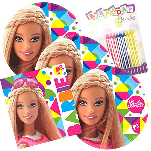 Lobyn Value Pack Barbie Sparkle Party Plates and Napkins Serves 16 With Birthday Candles for $<!--$16.99-->