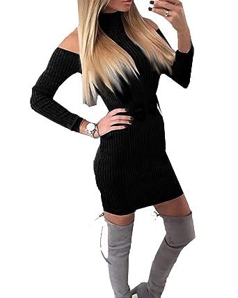 näher an suche nach dem besten hohe Qualitätsgarantie YOGLY Damen Enganliegende Langarm-Pullover Kleid Fäden Waren Dünn ...