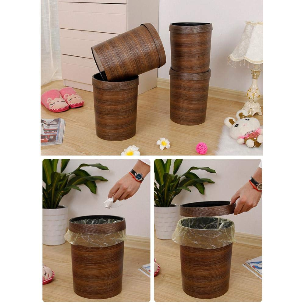 Luerme 10L Trash Can Wastebasket Rubbish Bin Plastic Bucket Garbage Bin with Wood Grain for Bathroom Office Kitchen by Luerme (Image #2)