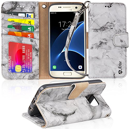 Galaxy s7 Case, Arae [Wrist Strap] Flip Folio [Kickstand Feature] PU Leather Wallet case with ID&Credit Card Pockets for Samsung Galaxy S7 (Not for Galaxy S7 Edge) - Marble Gray
