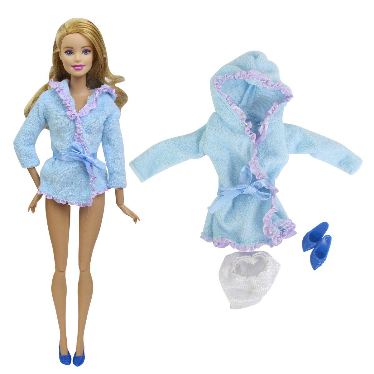 Amazon.es: ZITA ELEMENT Ropa Barbie 2 Sets Albornoces para Barbie Hechas a Mano (Ropa Interior O Toalla) + Zapatos para Barbie -para 11.5 Pulgadas / 30cm ...