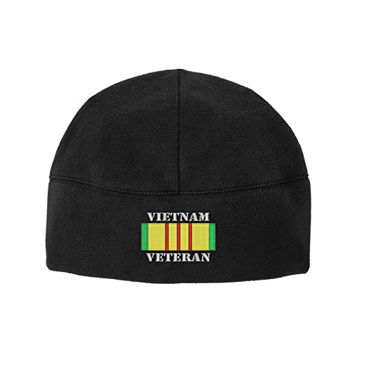 c758167e180 Classic Vietnam Veteran Campaign Ribbon POW Embroidered Beanie Watch Cap  (Black)