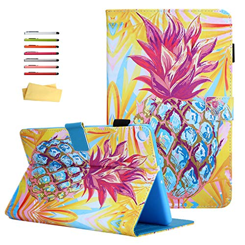 UUcovers Galaxy Tab A 10.1 2019 Case SM-T510 T515 T517 [Corner Protection] with Pencil Holder Folio Stand PU Leather TPU Back Magnetic Cover for Samsung Tab A 10.1 inch Tablet, Pink Blue Pineapple
