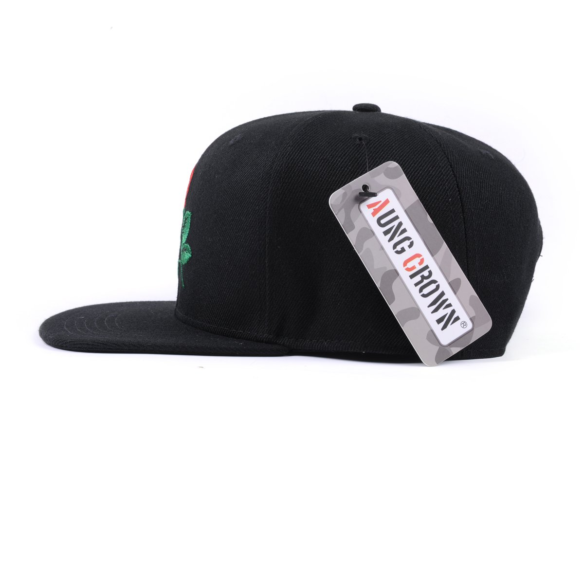 e8807fa4e15 AUNG CROWN Rose Embroider Flat Bill Snapback Hats Women Men Snap Back Caps  Black at Amazon Women s Clothing store