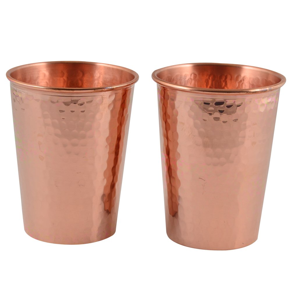 CopperBull Thickest Heaviest Hammered 1 mm Copper Tumbler Set for Water Moscow Mule Ayurvedic Healing,14 Oz (2X)