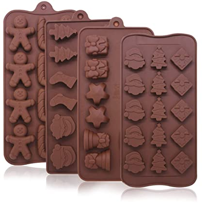 4 pack christmas candy molds trays yucool silicone baking chocolate jelly molds with shapes of - Christmas Candy Molds