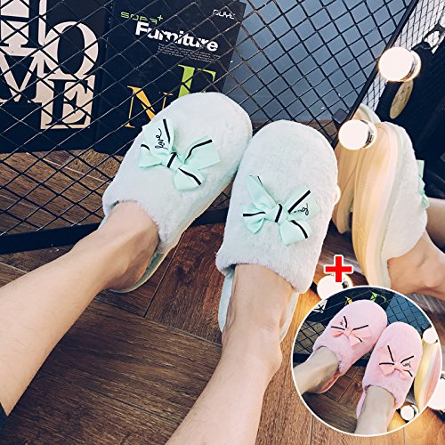 LaxBa Femmes Hommes chauds dhiver Chaussons peluche antiglisse intérieur Cotton-Padded ShoesPink Slipper  + sky blue36-37  + 40-41 femme