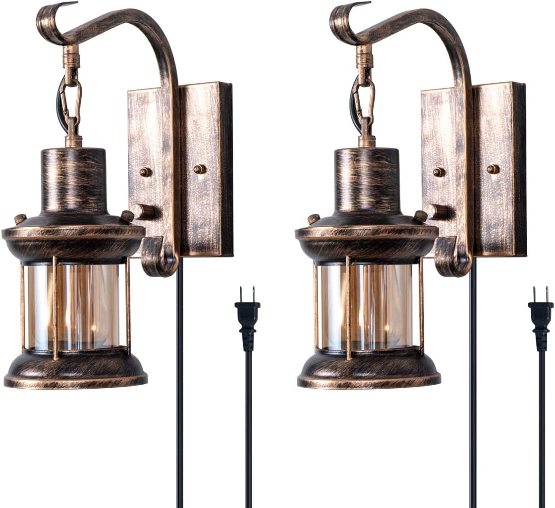 Rustic Wall Light, 2-in-1 Oil Rubbed Bronze Vintage Wall Light Fixtures Hardwired Plug in Industrial Glass Shade Lantern Lighting Retro Lamp Metal Wall Sconce for Home Bedroom Dining Room café(2 pack)