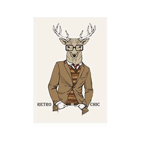 JUANYA Canvas Prints Wall Art Oil Painting Modern Mr. Deer Wall Decor For  Bedroom Living
