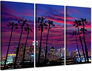 iHAPPYWALL 3 Piece Canvas Purple Wall Art USA Los Angeles Night City Lights Cityscapes With Plam Trees Silhouette Over Glow Sky Picture Print On Canvas Stretched For Home Decor