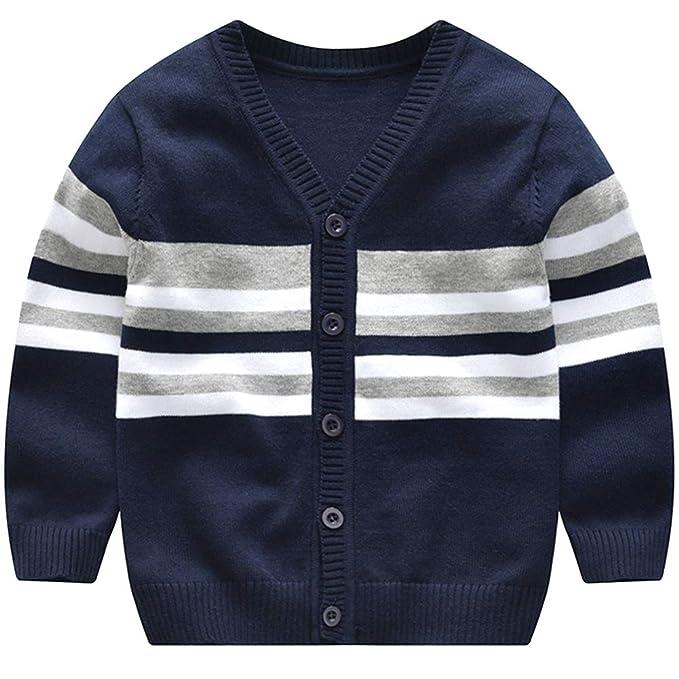 Shengwan Cárdigan Suéter Niña Niño Raya Cardigan Chaquetas Abrigos de Punto Jerséis de Punto Jersey: Amazon.es: Ropa y accesorios