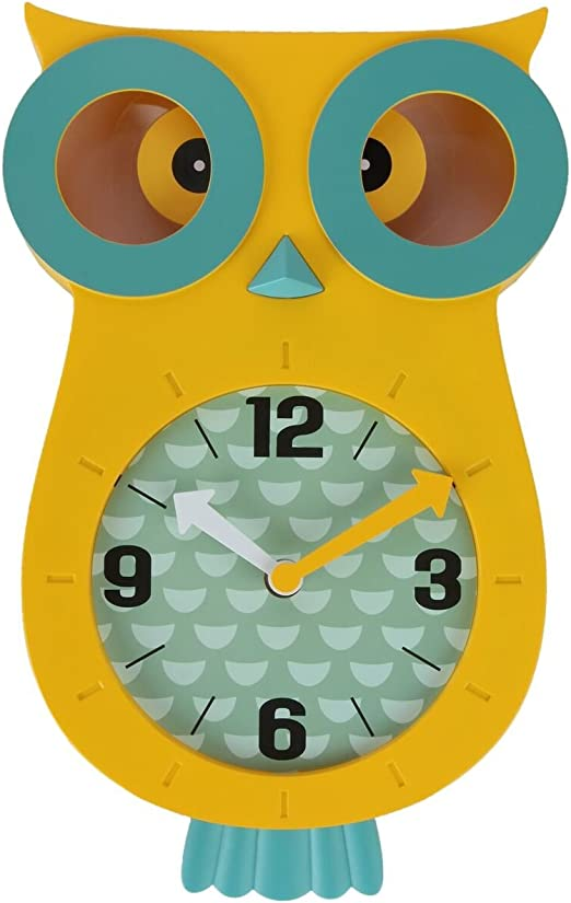 Wonderful and Colorful Addition to Owl Themed Bedroom D/écor 13 x 8 Lilys Home Pendulum Owl Clock with Revolving Eyes and Swinging Tail Purple