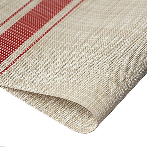 DACHUI Placemats, Heat-resistant Placemats Stain Resistant Anti-skid Washable PVC Table Mats Woven Vinyl Placemats, Set of 4 (Red) by DACHUI (Image #1)