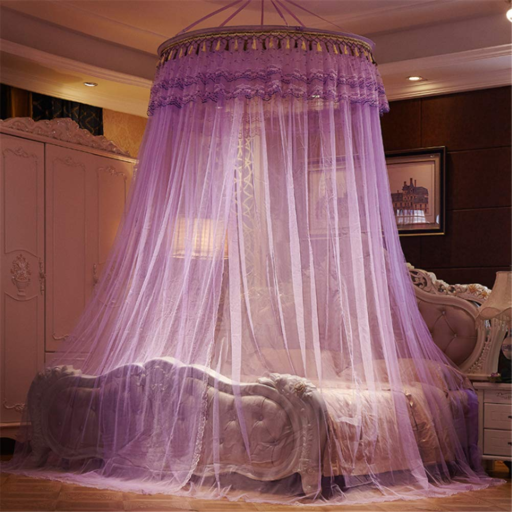 LLVV Zanzariera da Letto Tonda Facile da installare Home Bedding Tenda a baldacchino Hung Dome Princess Canopy Tent,Beige