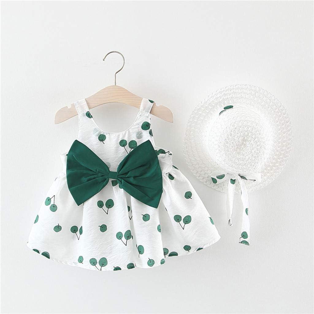 Patifia Bekleidung 2 St/ück Kleinkind Baby /Ärmellos Kirsche Drucken Schmetterlingsknoten Prinzessin Kleid+Sonnenhut Outfits Sommerkleidung