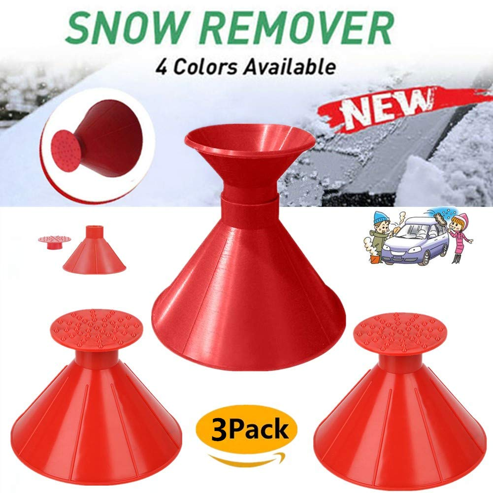 Boscoraggio Magic Scraper Round - Ice Scrapers Magic Funnel Snow Removal Tool Windshield Cone-Shaped Car (Red-3Pack-1) by Boscoraggio