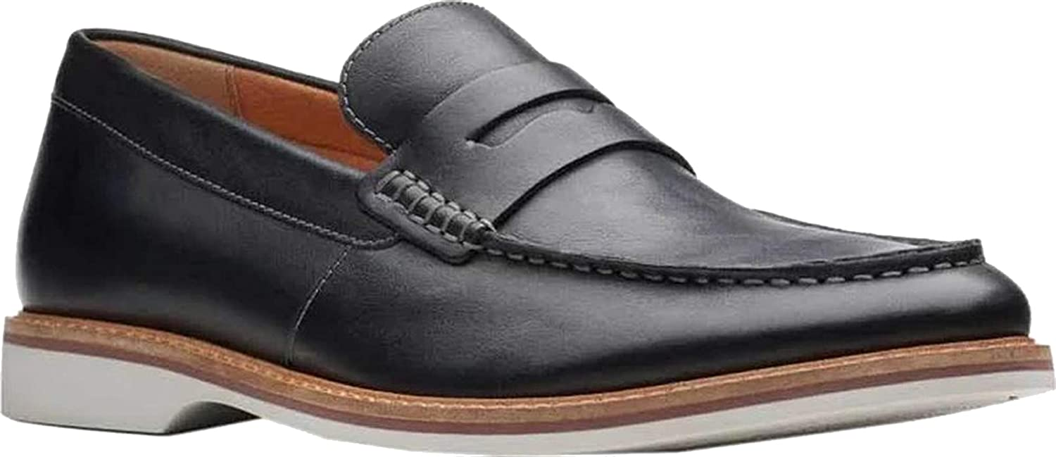 Black Leather Clarks Mens Atticus Free Penny Loafer