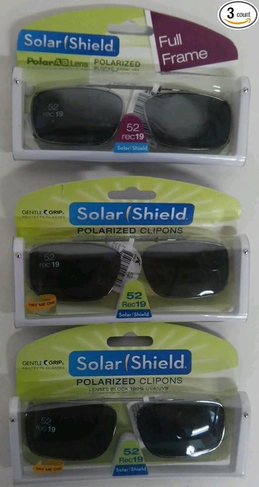 7129e960c8 3 SOLAR SHIELD Clip-on Polarized Sunglasses Size 52 rec 19 Black Full Frame  NEW