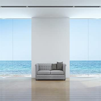 Amazon Com Lfeey 6x6ft Empty Sea View Room Backdrop Wooden Floor Glass Window Beautiful Seascape Viewing Living Room With Sofa Photography Background Photo Booth Props Camera Photo