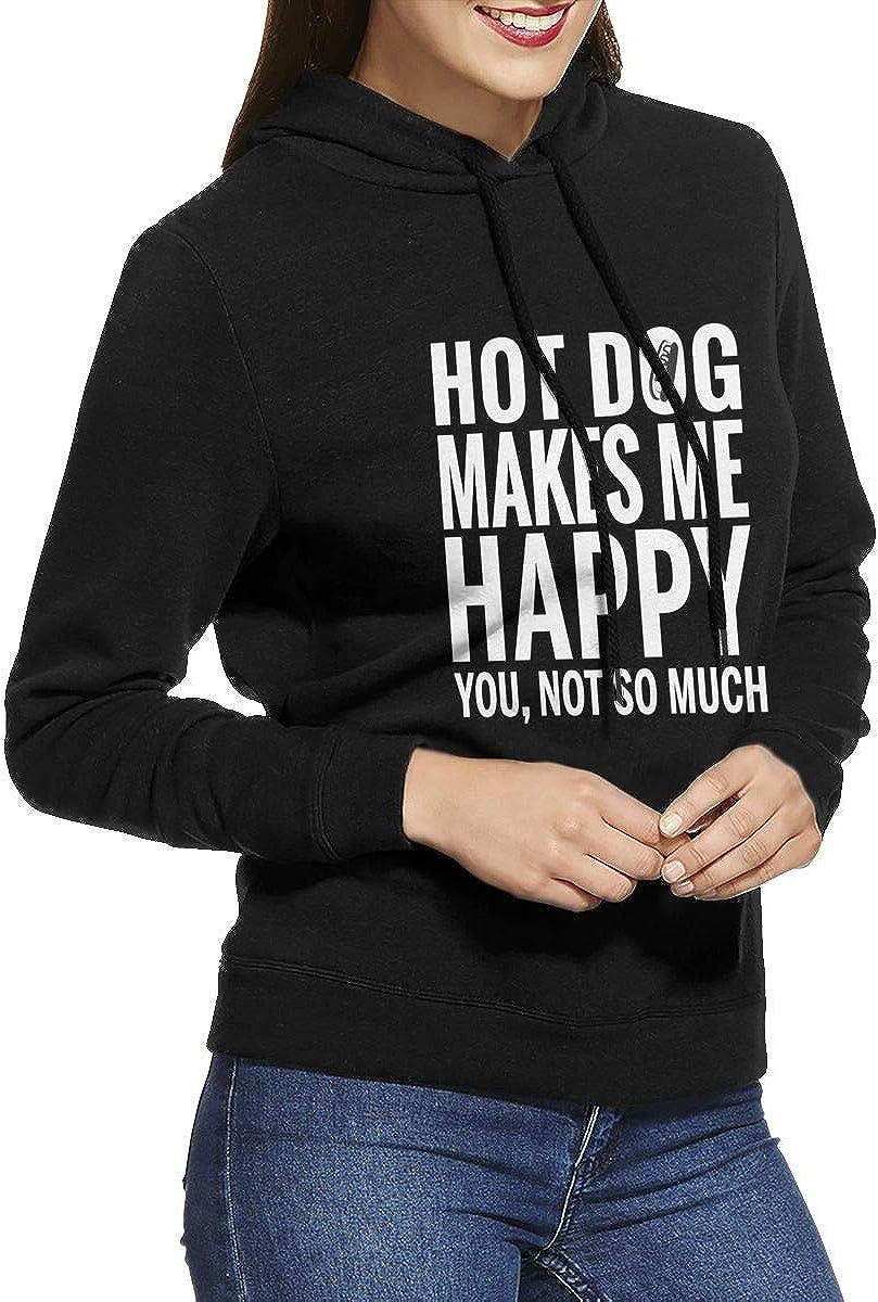 HOT Dog Make Me Happy Womens Pullover Hoodie Long Sleeve Hooded Sweatshirts