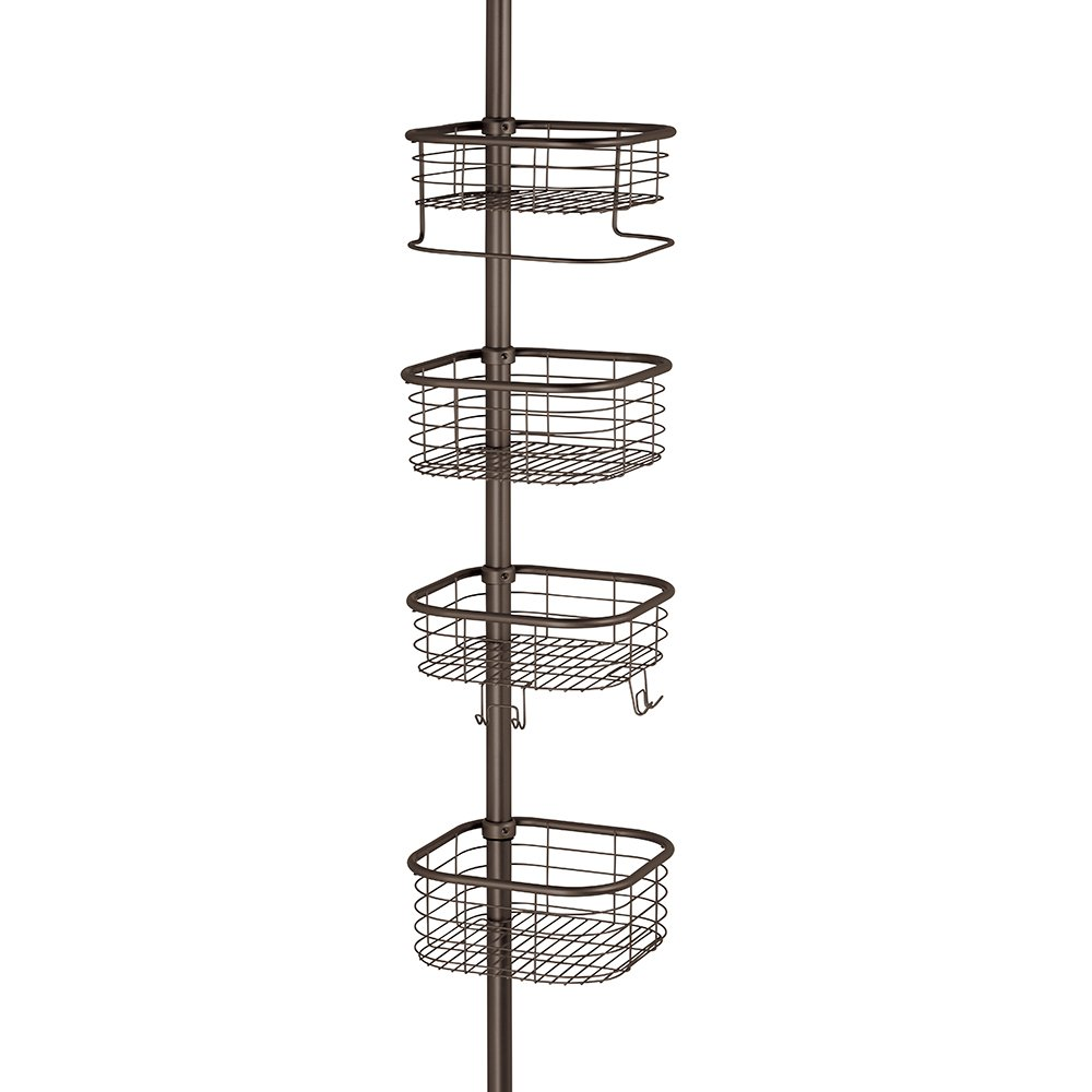 InterDesign Forma Constant Tension Shower Caddy – Square Bathroom Storage Shelves for Shampoo, Conditioner and Soap, Bronze
