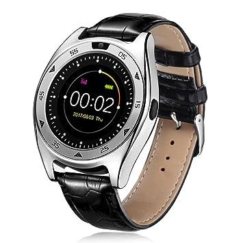 Montre connectée HKFV étanche TQ920 Bluetooth avec tensiomètre et cardiofréquencemètre, Silber, 150-240mm