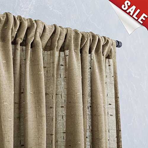 Linen Window Sheers for Bedroom 63 Inch Length Solid Check Textured Voile Curtains for Living Room Window Treatment Set of 2 Taupe (Living Window Room Curtains)