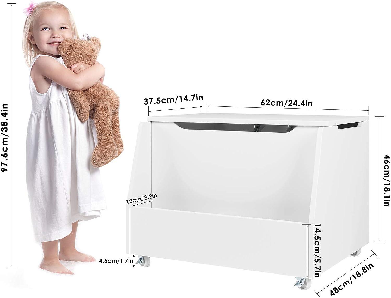 Bo/îte de Jouet Enfants Chambre d/'Enfants Meuble de Rangement pour Enfant 62x48x46,5 cm Blanc HOMECHO Coffre Enfants du bois /à Roulettes
