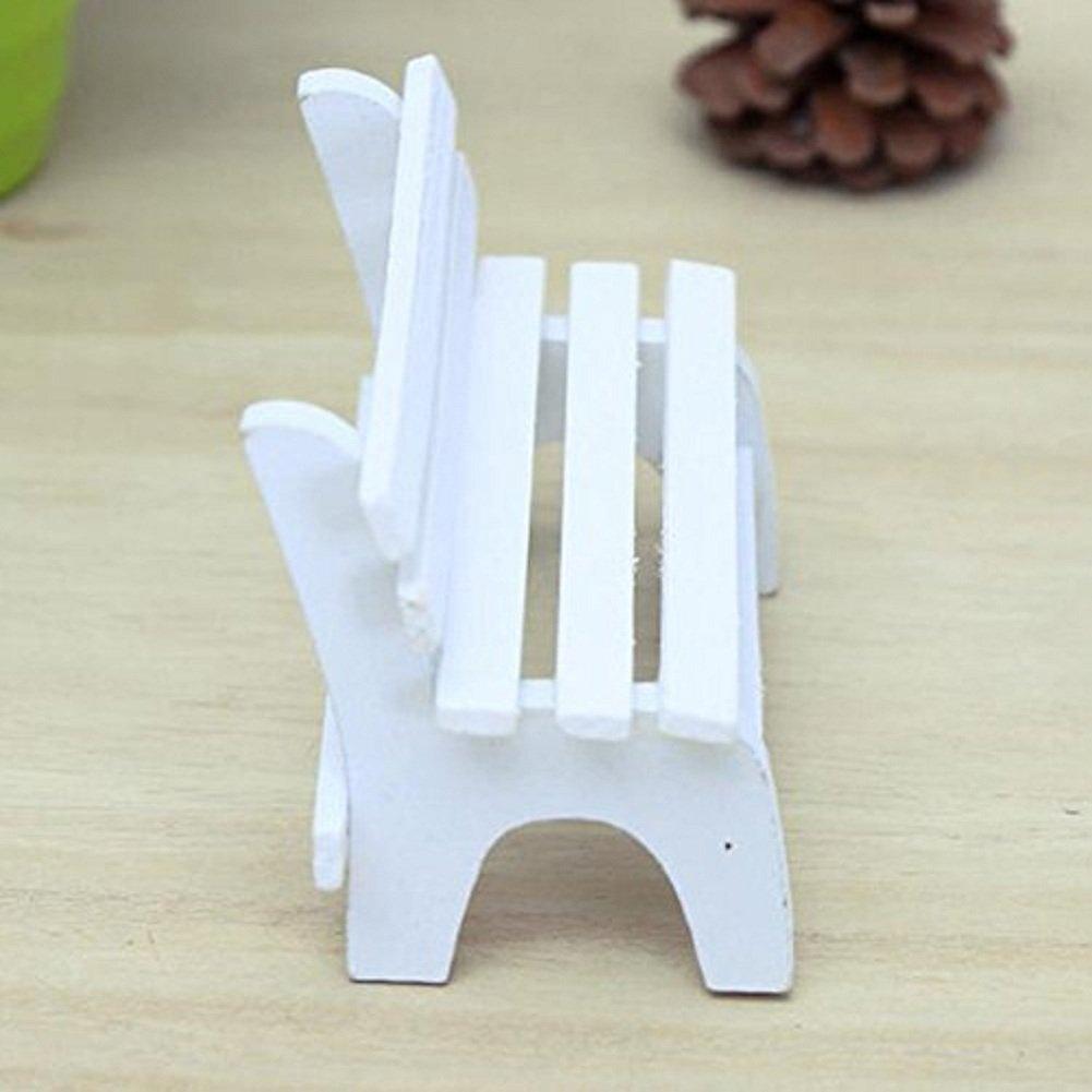 CAOLATOR Miniatura Giardino Resina Bianco di Legno Dollhouse Paesaggio Ornamento Pianta Home Giardino Decor Banco di sedie di Cuscini 11/* 5/* 7/cm Legno Prodotto Resina Bianco