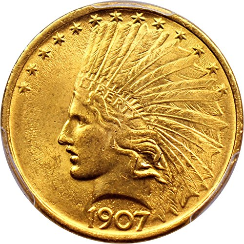 Indian Gold Coins (1907 P $10 Indian Gold No Motto Ten Dollar MS64 PCGS)